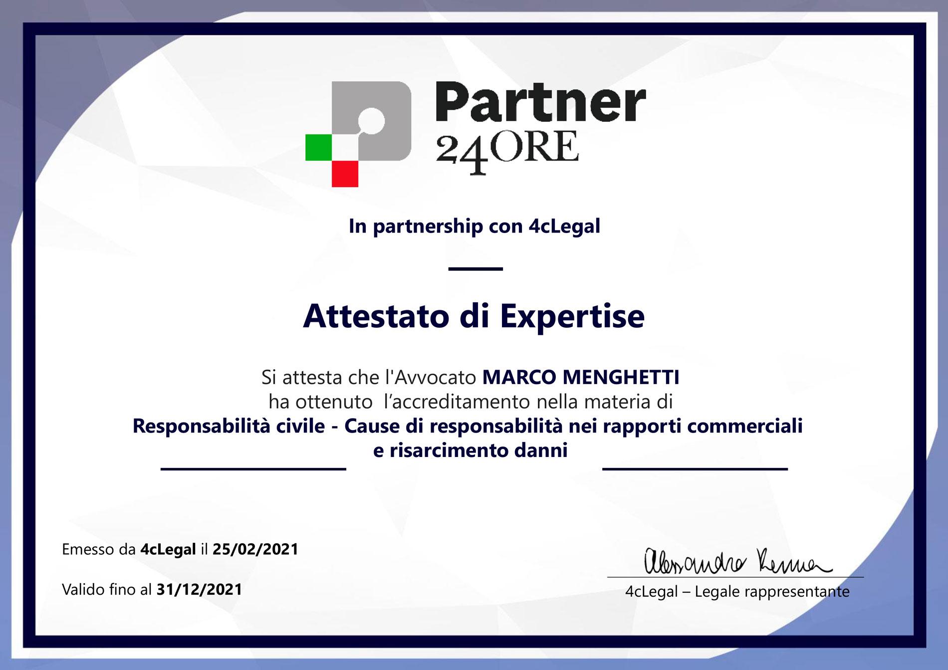 Studio Legale Menghetti Roma - Blog - Attestato Expertise Risarcimento Danni Rilasciato da Partner 24 Ore